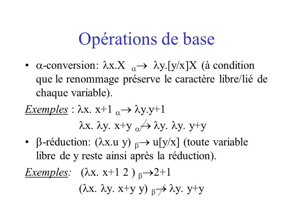Opérations de base -conversion: x.X  y.[y/x]X (à condition que le renommage préserve le caractère libre/lié de chaque variable).